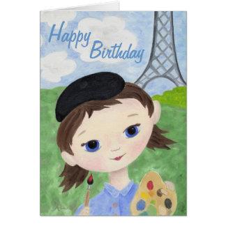 Cartão de aniversário da menina do artista
