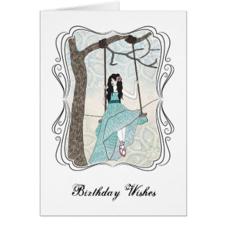 Cartão de aniversário da menina do balanço