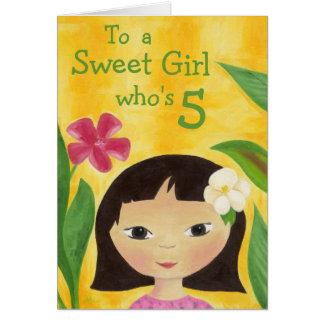 Cartão de aniversário da menina tropical 5o