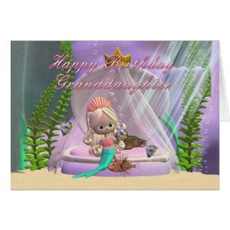 Cartão de aniversário da neta com a sereia pequena