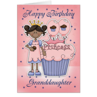 Cartão de aniversário da neta - princesa do cupcak