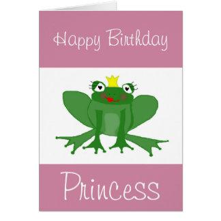 Cartão de aniversário da princesa Sapo