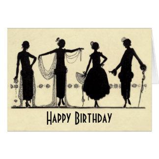 cartão de aniversário da silhueta da forma do