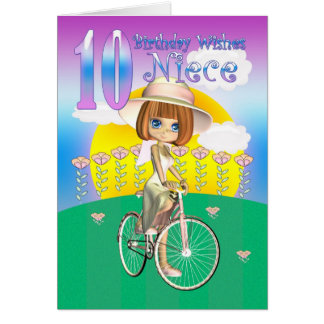 Cartão de aniversário da sobrinha 10o com a menina