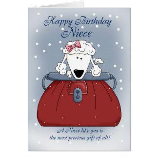 Cartão de aniversário da sobrinha - animal de esti