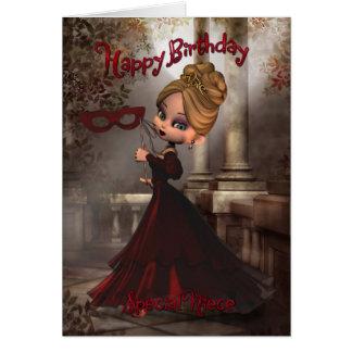 Cartão de aniversário da sobrinha com a torta Masq