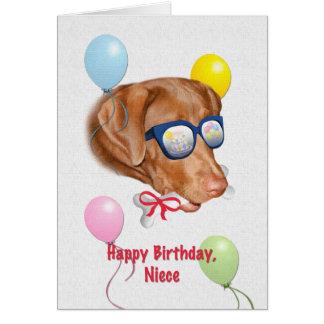 Cartão de aniversário da sobrinha com cão de labra