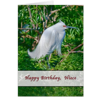 Cartão de aniversário da sobrinha com Egret nevado