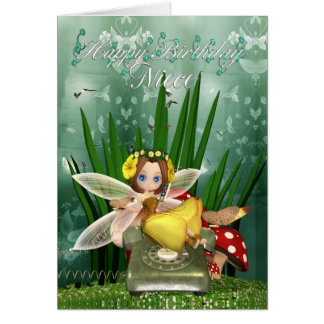Cartão de aniversário da sobrinha com fada da