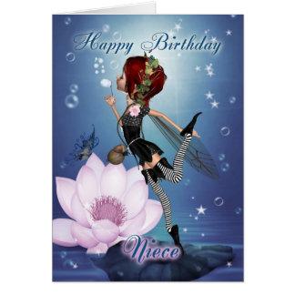 Cartão de aniversário da sobrinha com fada da água