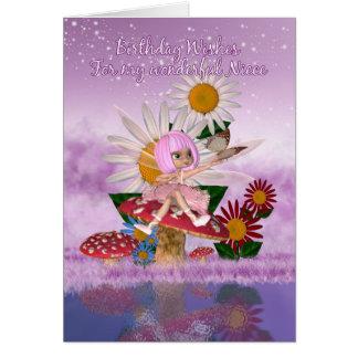 Cartão de aniversário da sobrinha com fada da amei