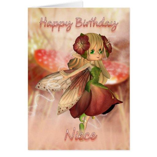 Cartão de aniversário da sobrinha com fada da mora