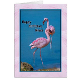 Cartão de aniversário da sobrinha com flamingo cor