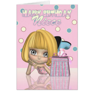 Cartão de aniversário da sobrinha com menina bonit