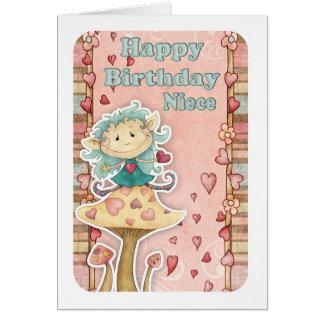 cartão de aniversário da sobrinha com o duende peq