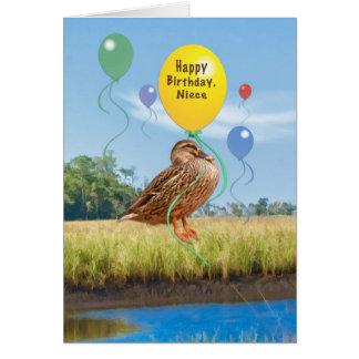 Cartão de aniversário da sobrinha com pato e balõe