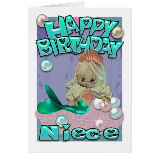 Cartão de aniversário da sobrinha com sereia