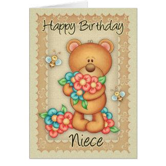 Cartão de aniversário da sobrinha com um grupo de