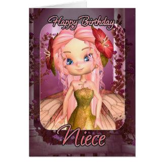 Cartão de aniversário da sobrinha - fada cor-de-ro