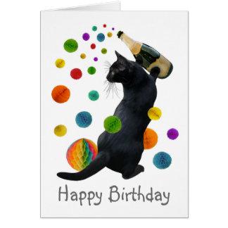 Cartão de aniversário das bolas do papel do gato