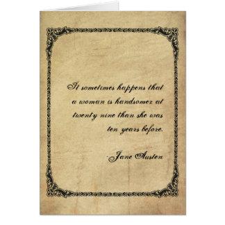 Cartão de aniversário das citações de Jane Austen