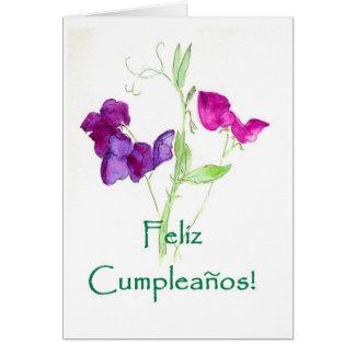 Cartão de aniversário das ervilhas doces -