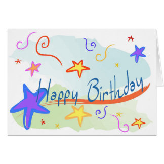 Cartão de aniversário das estrelas e das crianças