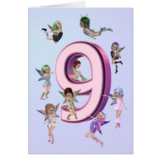 Cartão de aniversário das fadas da flor 9o