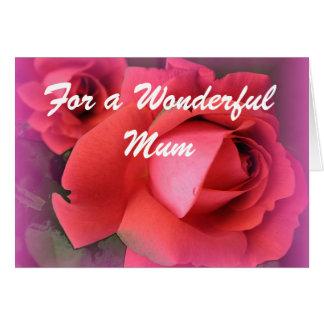 Cartão de aniversário das rosas vermelhas da mãe