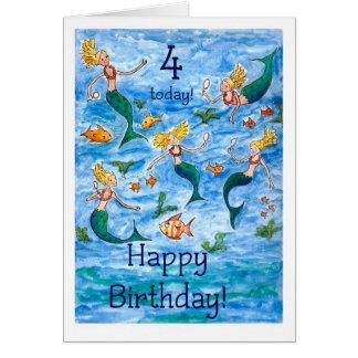 Cartão de aniversário das sereias 4o