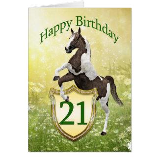 Cartão de aniversário de 21 anos com um cavalo de