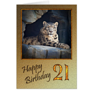 Cartão de aniversário de 21 anos com um leopardo