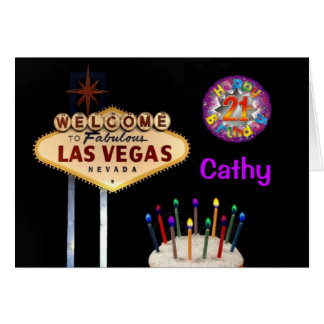 Cartão de aniversário de 21 anos de Las Vegas