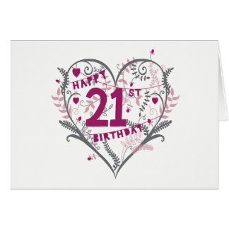 Cartão de aniversário de 21 anos do coração