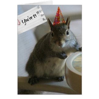 Cartão de aniversário de 21 anos engraçado do