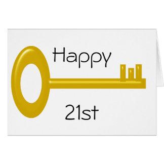 Cartão de aniversário de 21 anos feliz