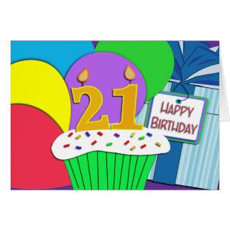 Cartão de aniversário de 21 anos feliz mega