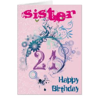 Cartão de aniversário de 21 anos para a irmã
