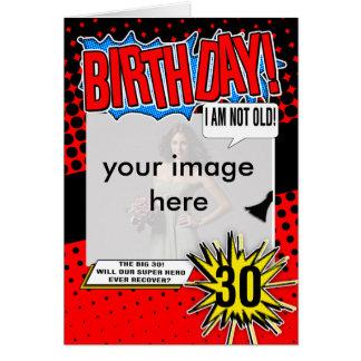 Cartão de aniversário de 30 anos - super-herói