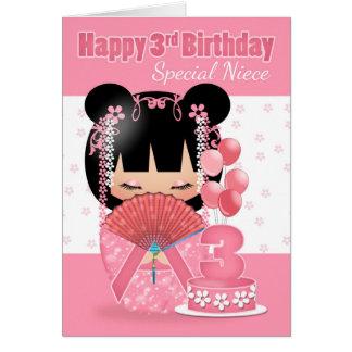 Cartão de aniversário de 3 anos da sobrinha com a