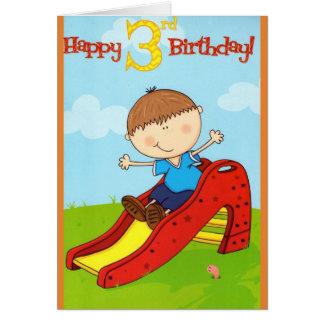 Cartão de aniversário de 3 anos do menino do