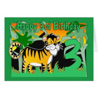 Cartão de aniversário de 3 anos - tigre