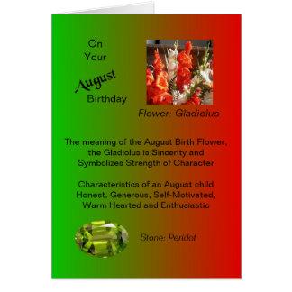 Cartão de aniversário de agosto - tipo de flor e