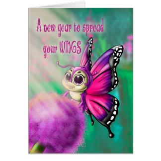 """Cartão de aniversário de Cutie da borboleta (5"""" x"""