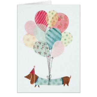 Cartão de aniversário de Daschund