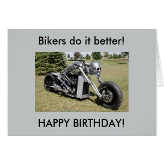 Cartão de aniversário de esqueleto da motocicleta