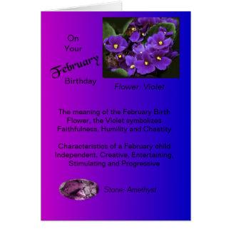 Cartão de aniversário de fevereiro - violeta e
