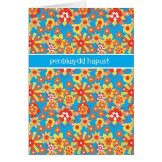 Cartão de aniversário de Galês, flores da laranja