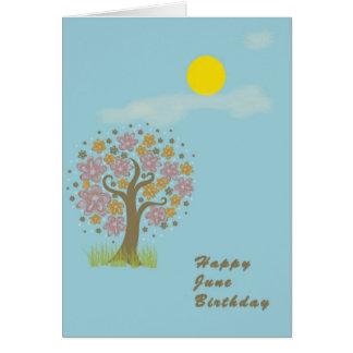 Cartão de aniversário de junho com Sun & vazio