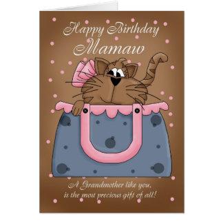 Cartão de aniversário de Mamaw - gato do animal de